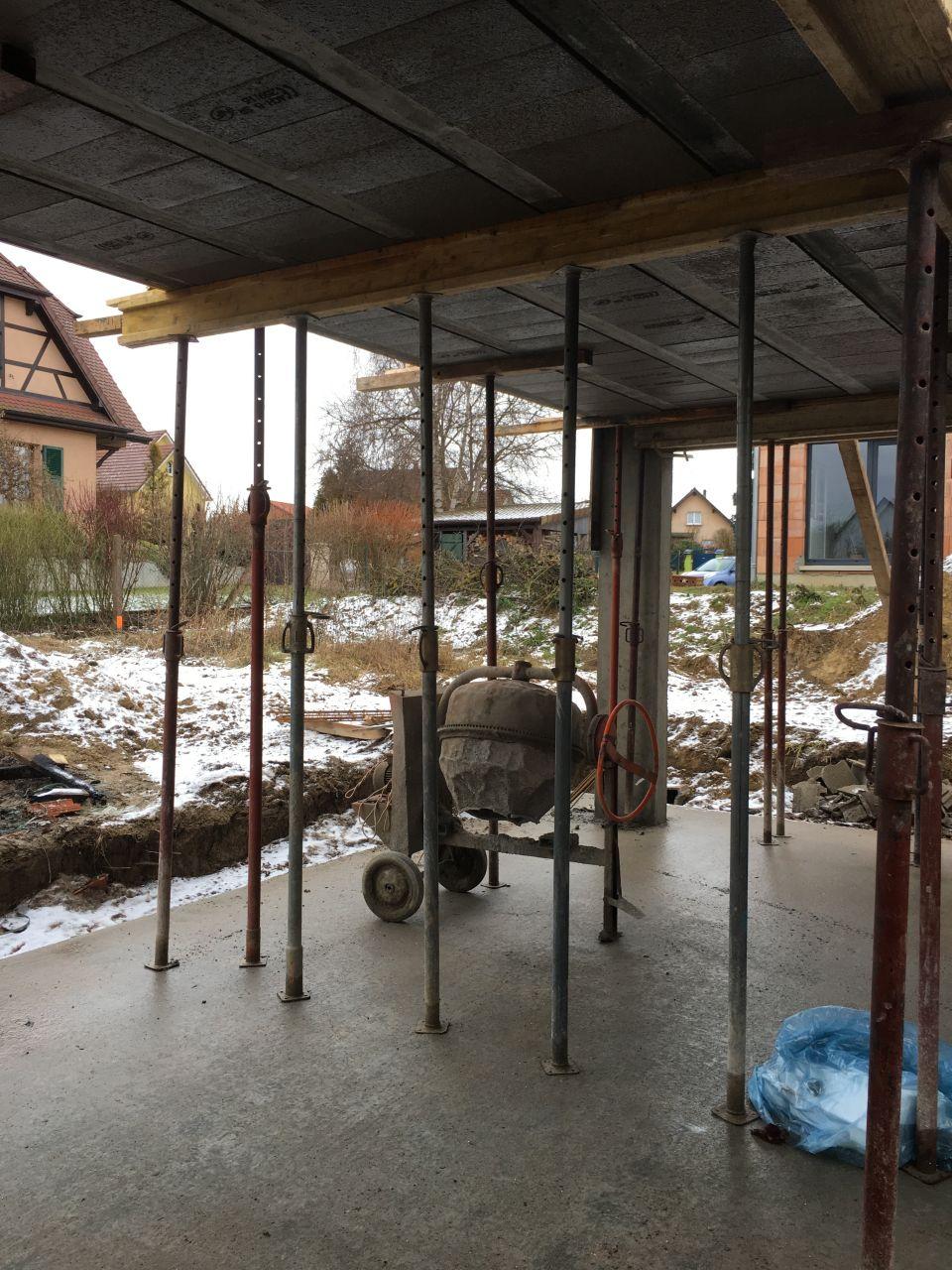 Préparation dalle pour couvrir la terrasse