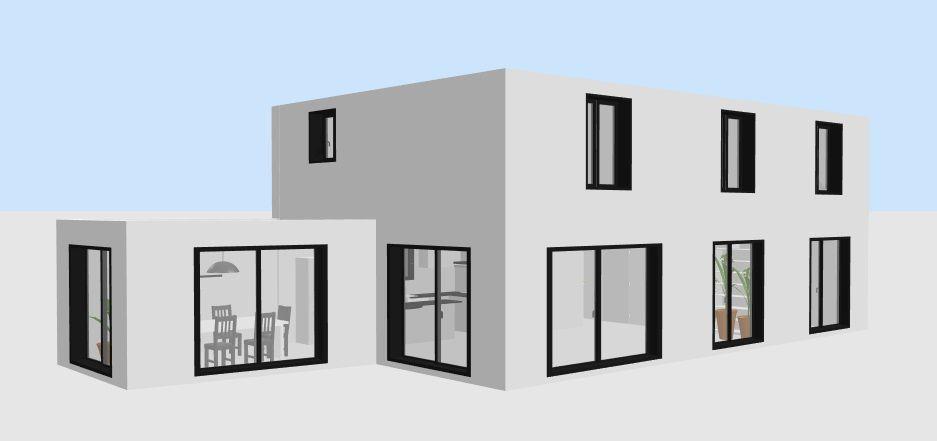 Simulation vue façade sud réalisée avec Sweet Home 3D