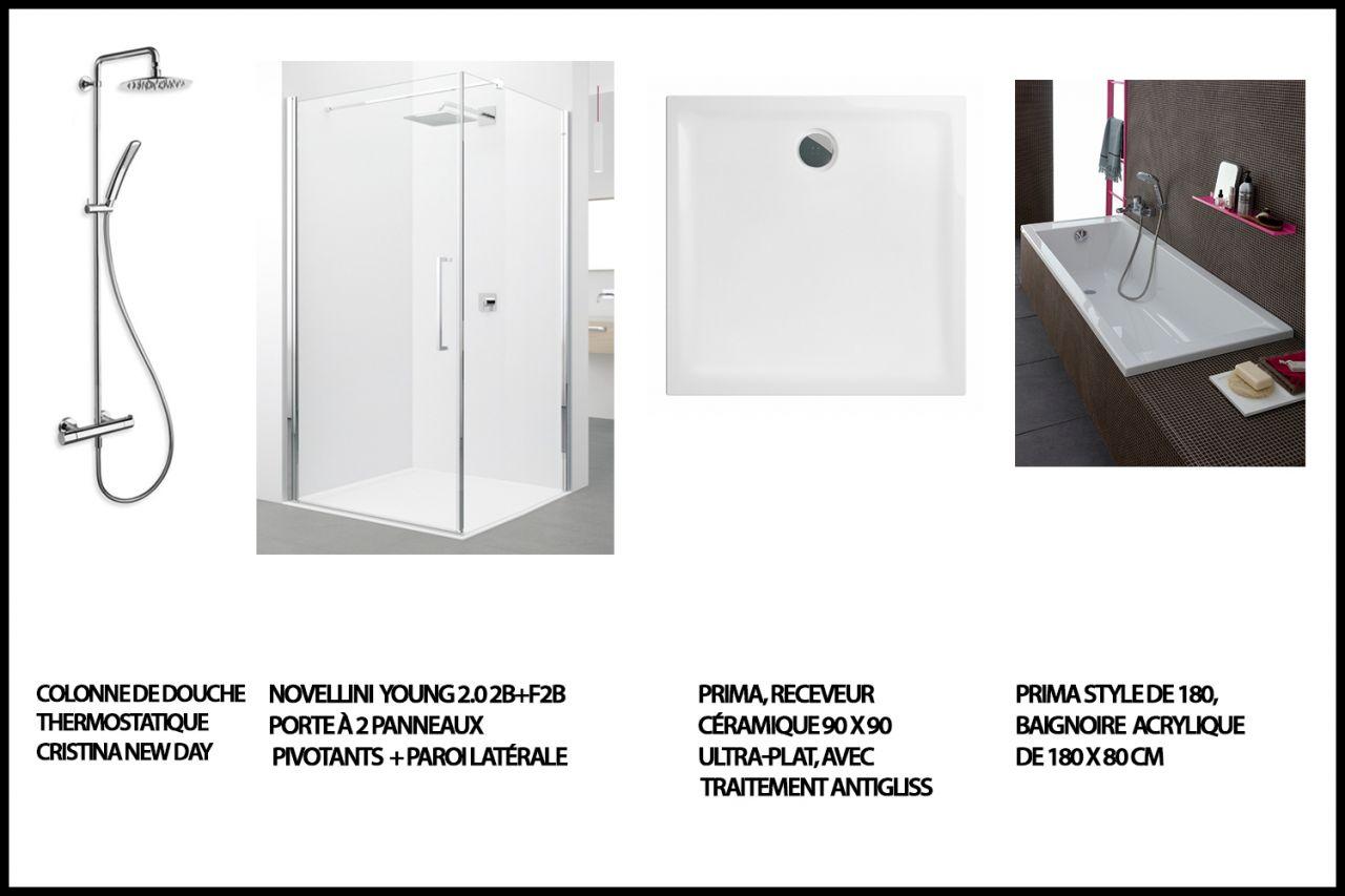 achat salle de bain étage (colonne douche, paroi de douche, receveur et baignoire)