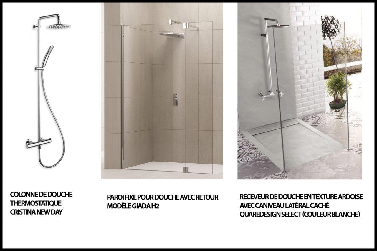 achat salle de bain étage parentale (colonne de douche, paroi de douche et receveur )