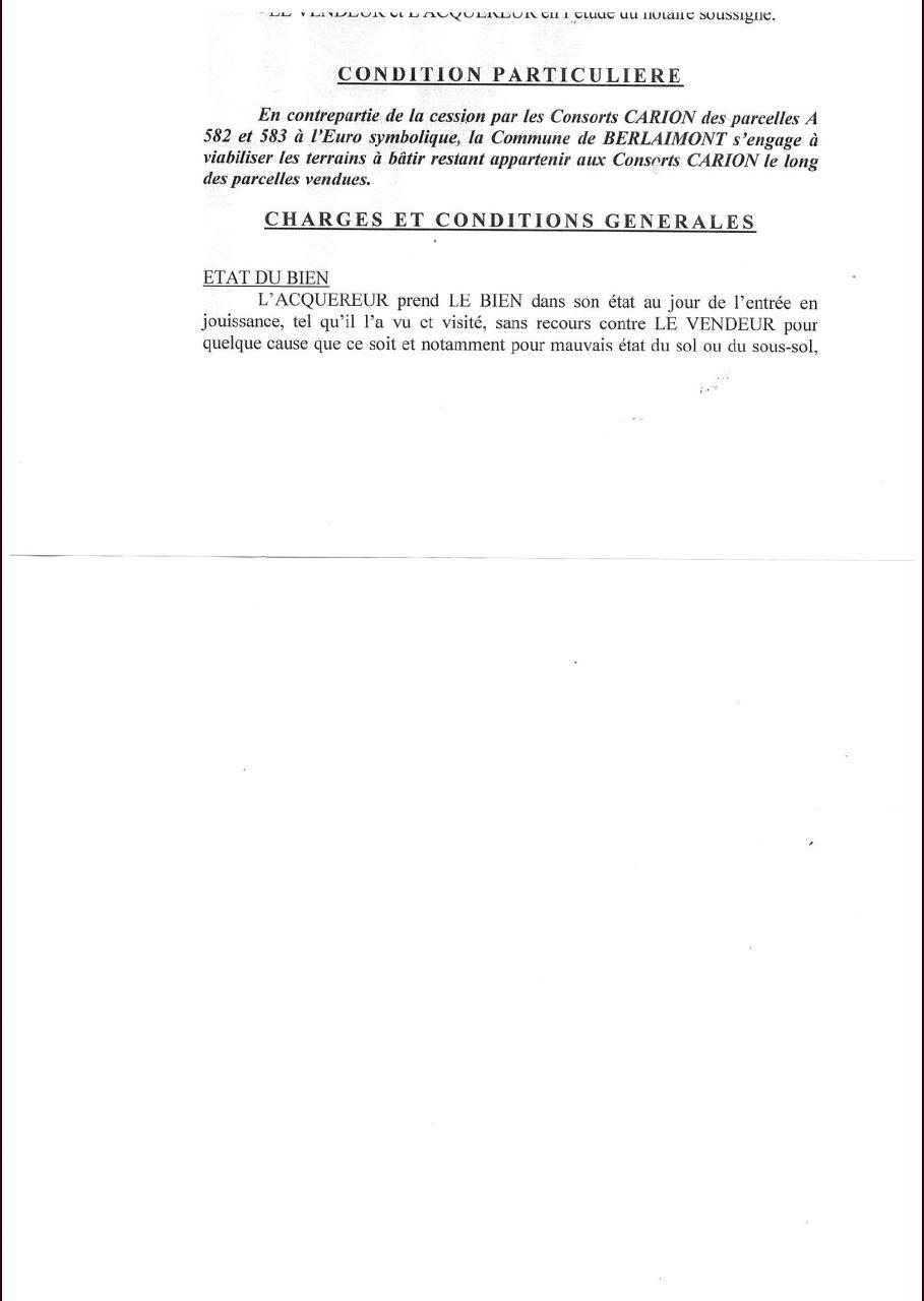 extrait de l'acte de vente entre la commune et le propriétaire des terrains.