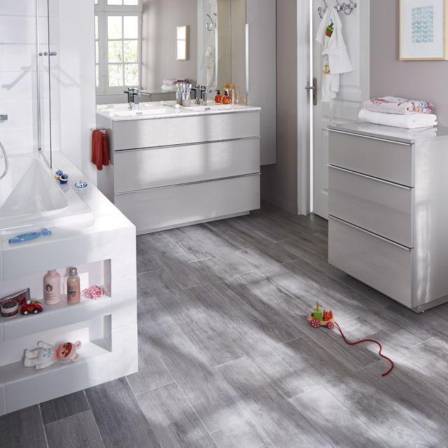 Meuble salle de bain double vasque 120cm ; couleur taupe <br /> + commode 3 tiroirs supplémentaire
