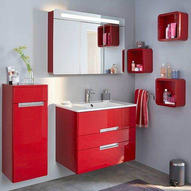 Meuble salle de bain simple vasque 60cm ; couleur rouge