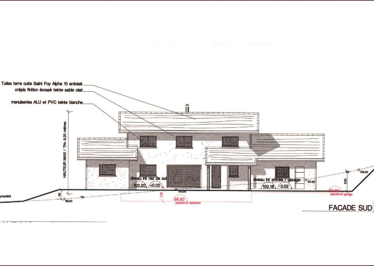 Plan définitif façade sud