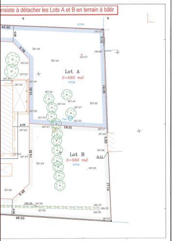 Le Lot A étant déjà réservé, notre terrain est celui du Lot B.