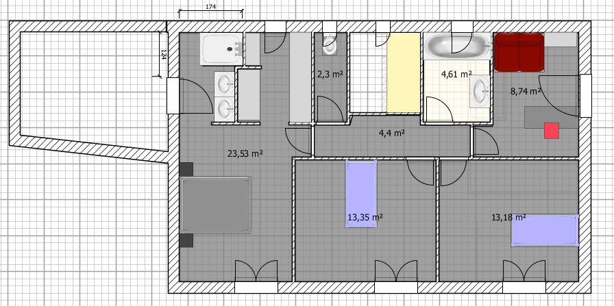 Plan du 1er étage (refait à peu près avec le logiciel gratuit Sweet Home 3D)