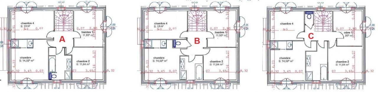 3 contre-propositions de répartition des pièces à l'étage...