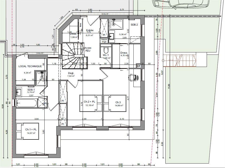 R+1 de la maison avec entrée à l'étage (EST)