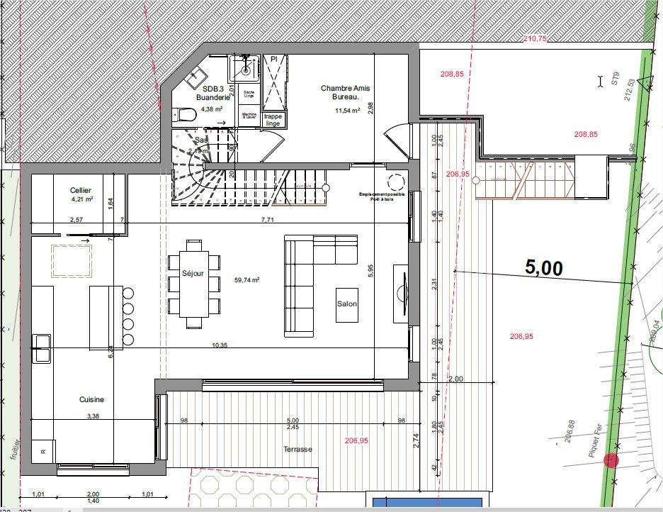 RDJ de la maison avec terrasse et piscine sud / ouest