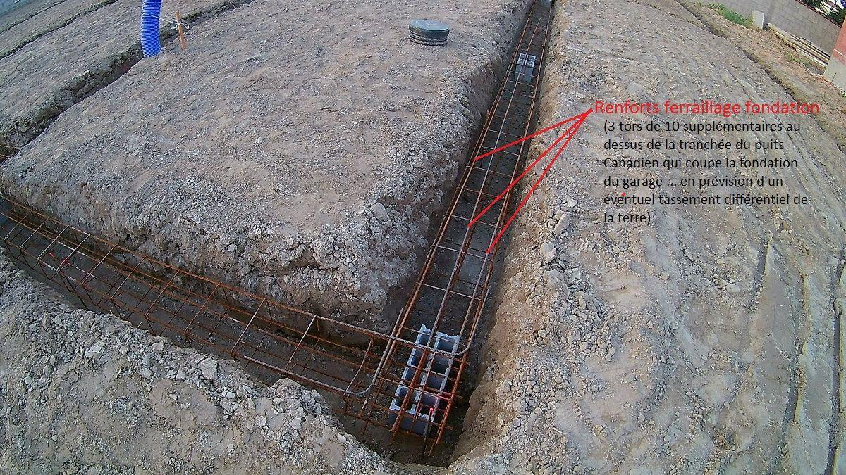 Ferraillage renforcé de la fondation au dessus du puits canadien