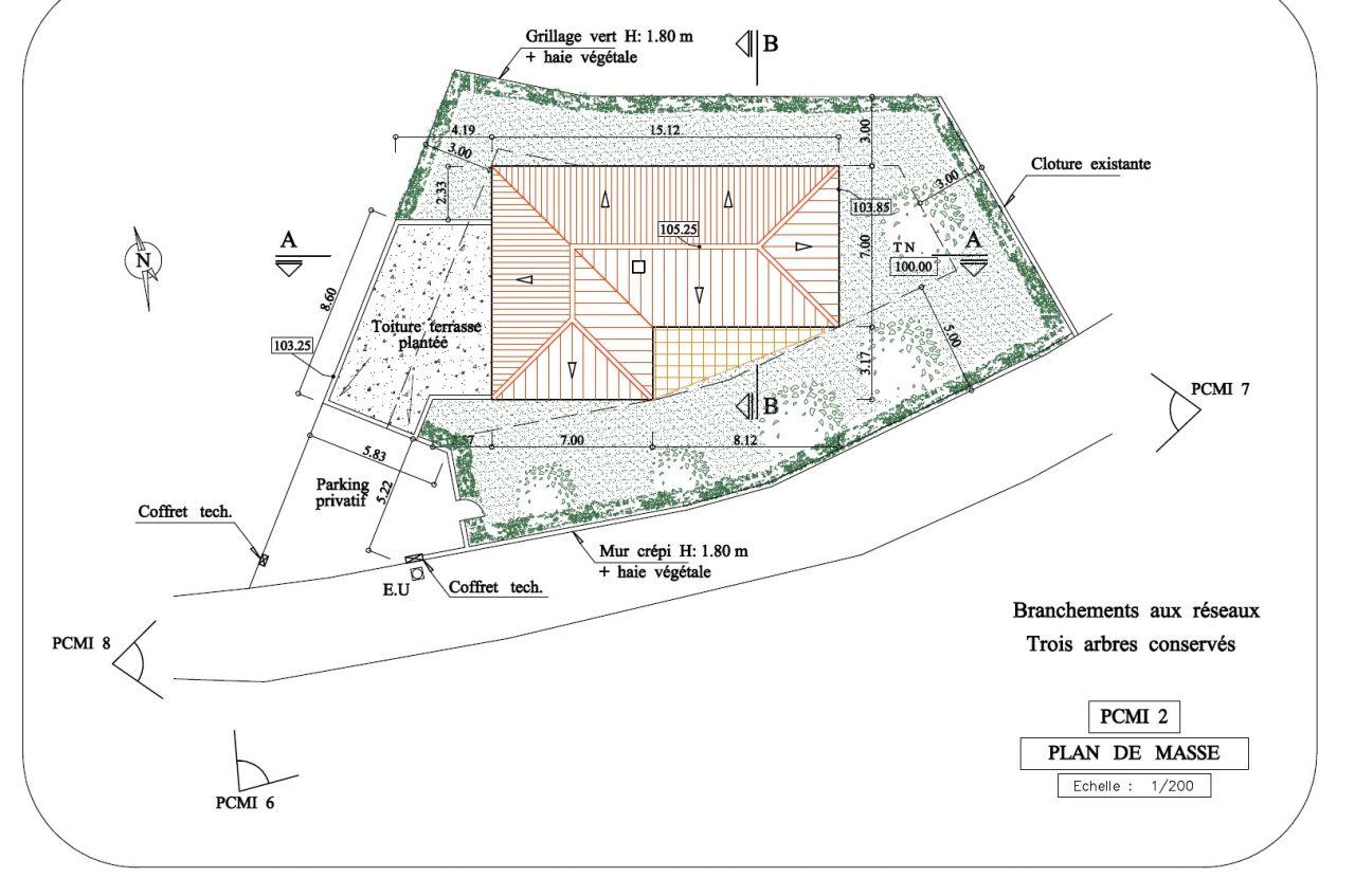 Plan de masse : terrain + projet