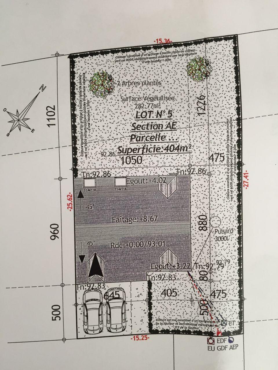 Plan implantation de la maison sur la parcelle