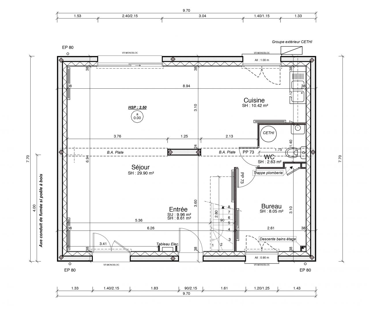 Avis sur plan maison de 120 m2 en r 1 avec garage r solu for Modification de plan de maison