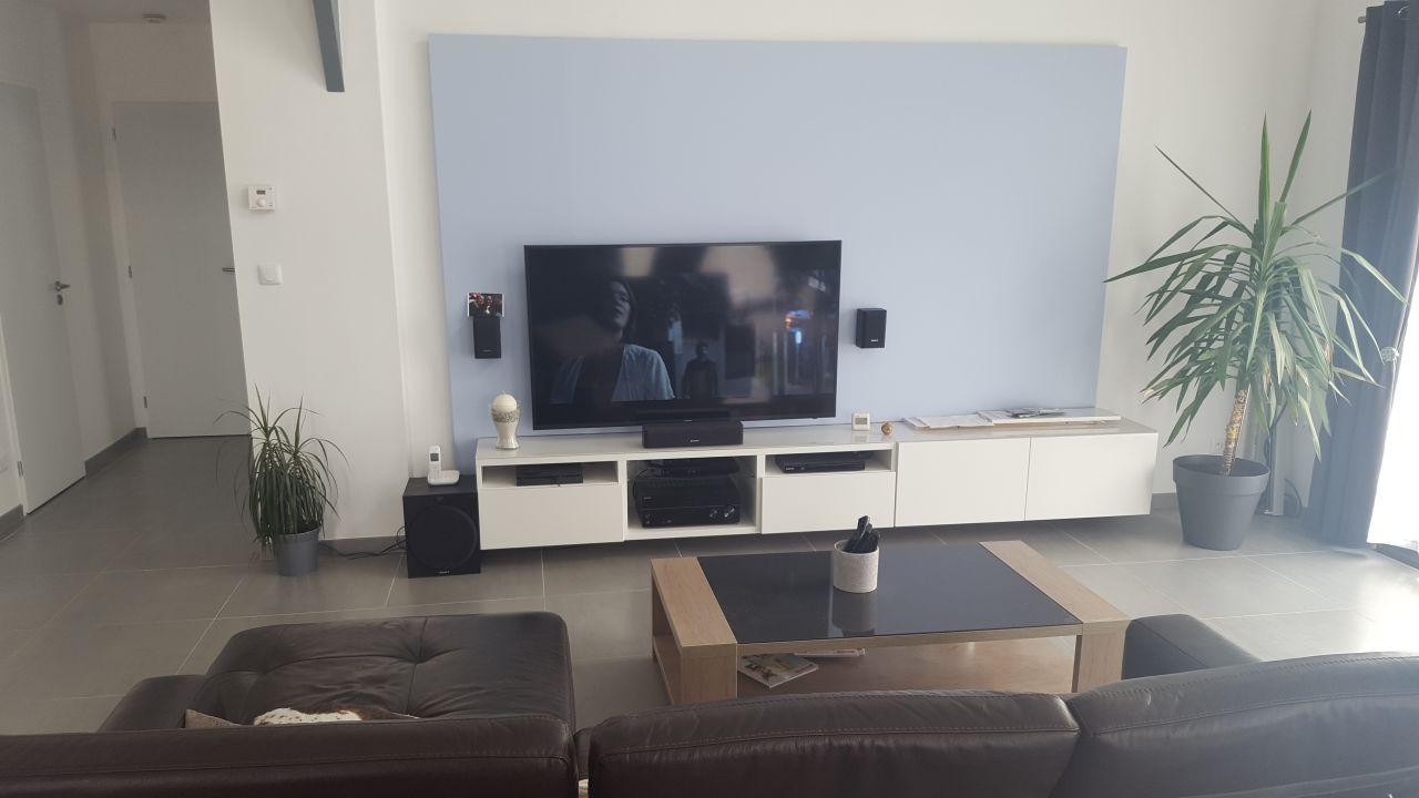 photo coffrage derriere tv peint d coration salon salle manger seine maritime 76. Black Bedroom Furniture Sets. Home Design Ideas