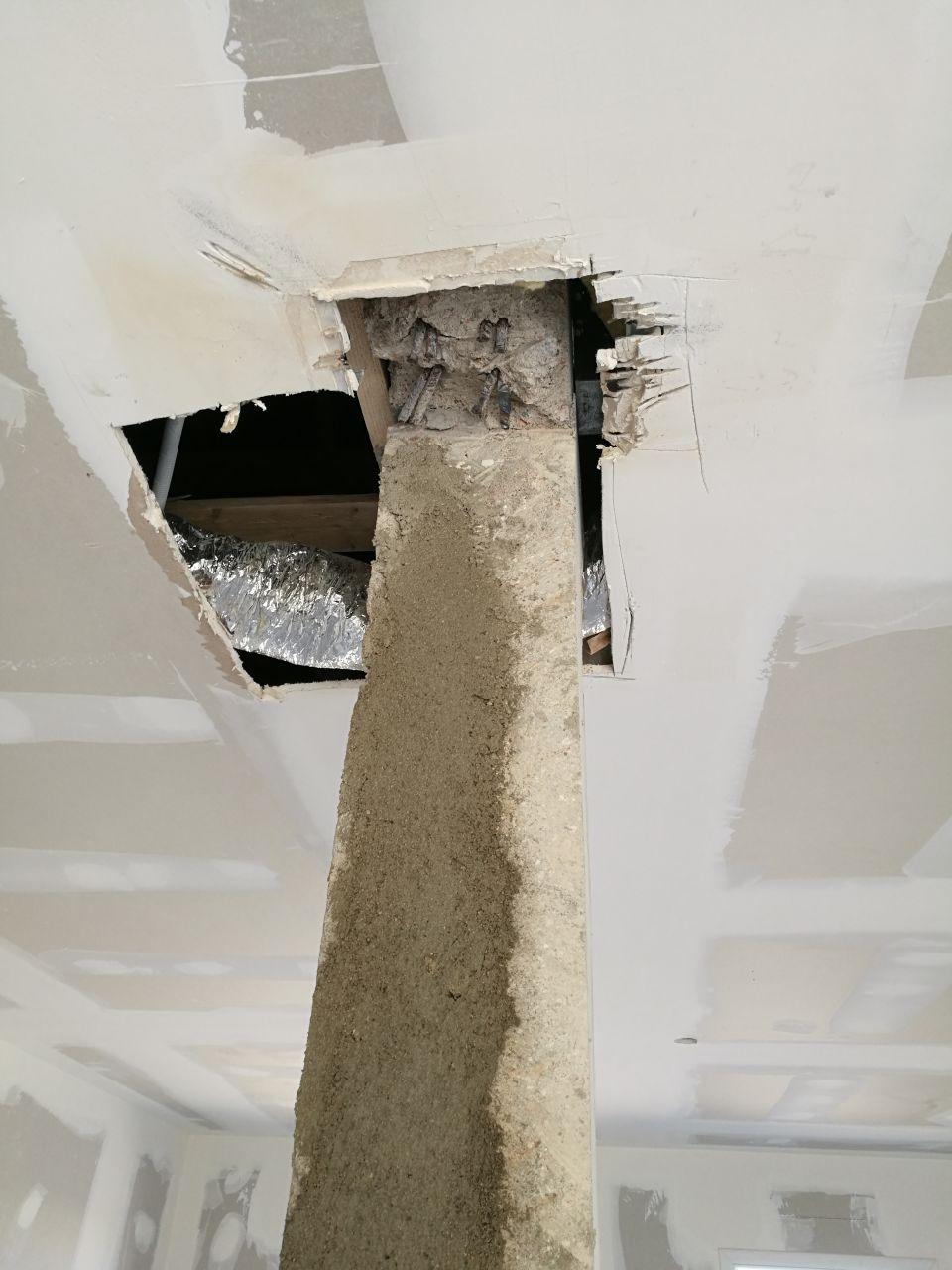 Poteau porteur : Nouveau poteau décoffré et l'ancien disqué et démoli