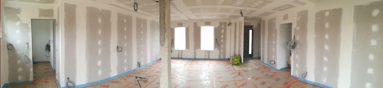 Pose du TMS : Panoramique Salon / Salle à manger (depuis la baie vitrée jardin)