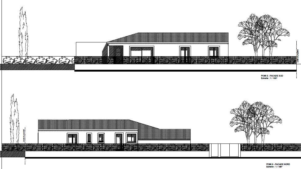 Plan des façades (sud en haut, nord en bas)