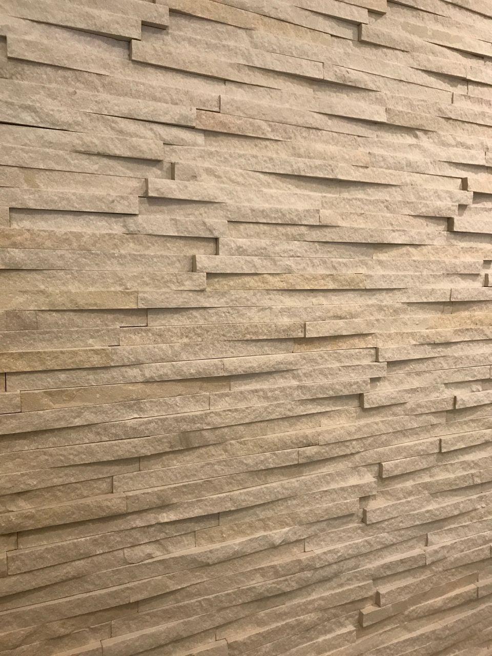 Mur de la cuisine en briquettes ISLAND STONE beige