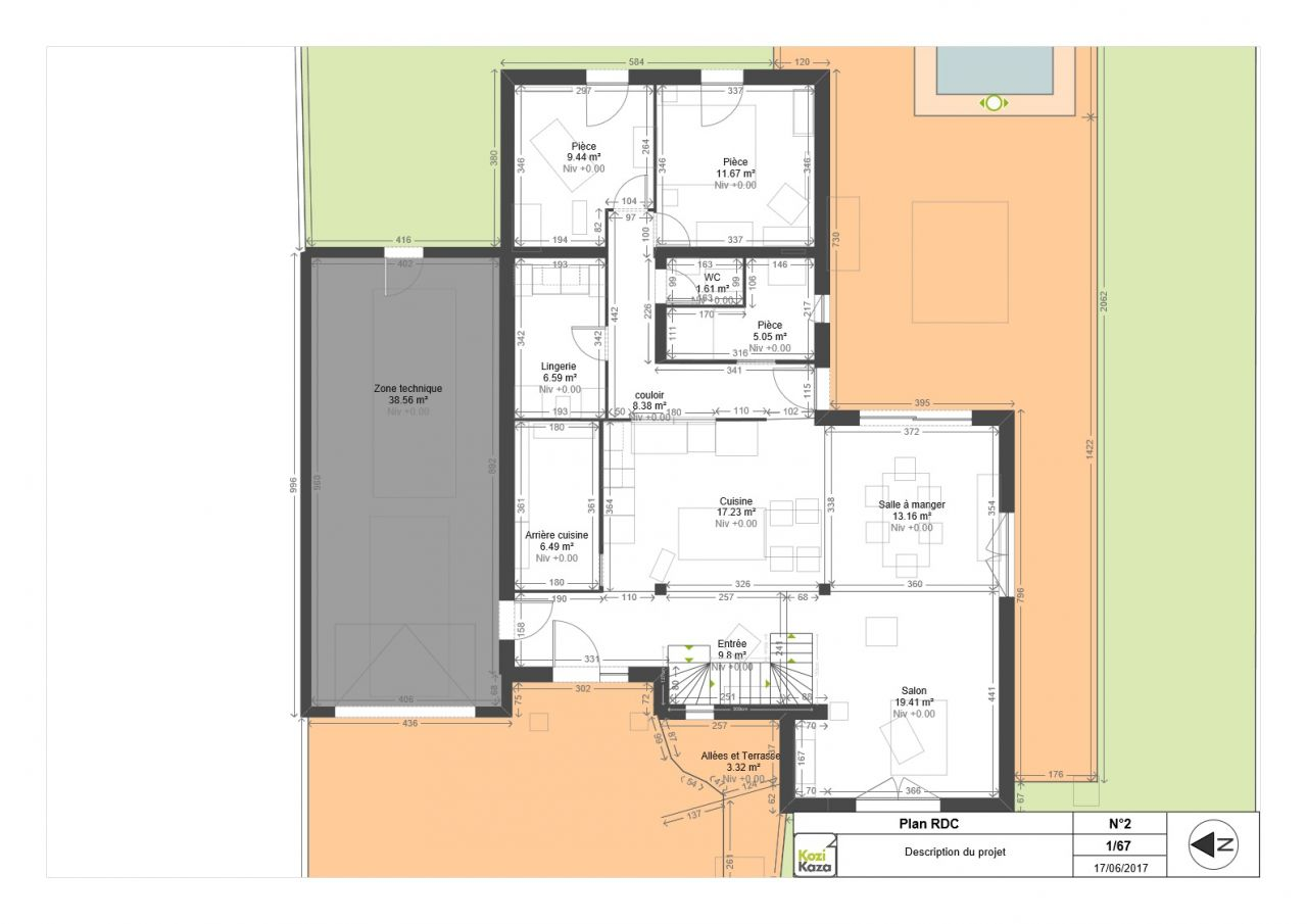 plan de maison fait sur site KOZIKAZA