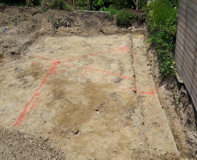 Terrassement des fondations avec 2 cotés en limite de propriété