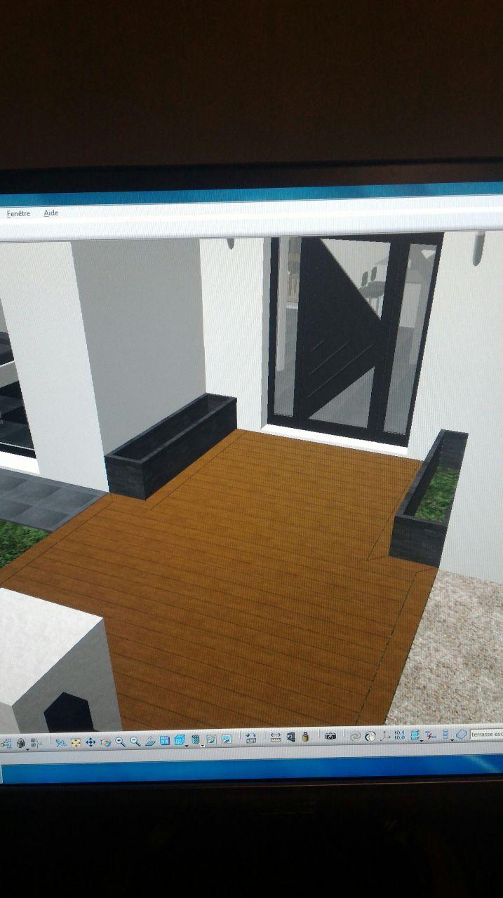Conception terrasse entrée avec bacs