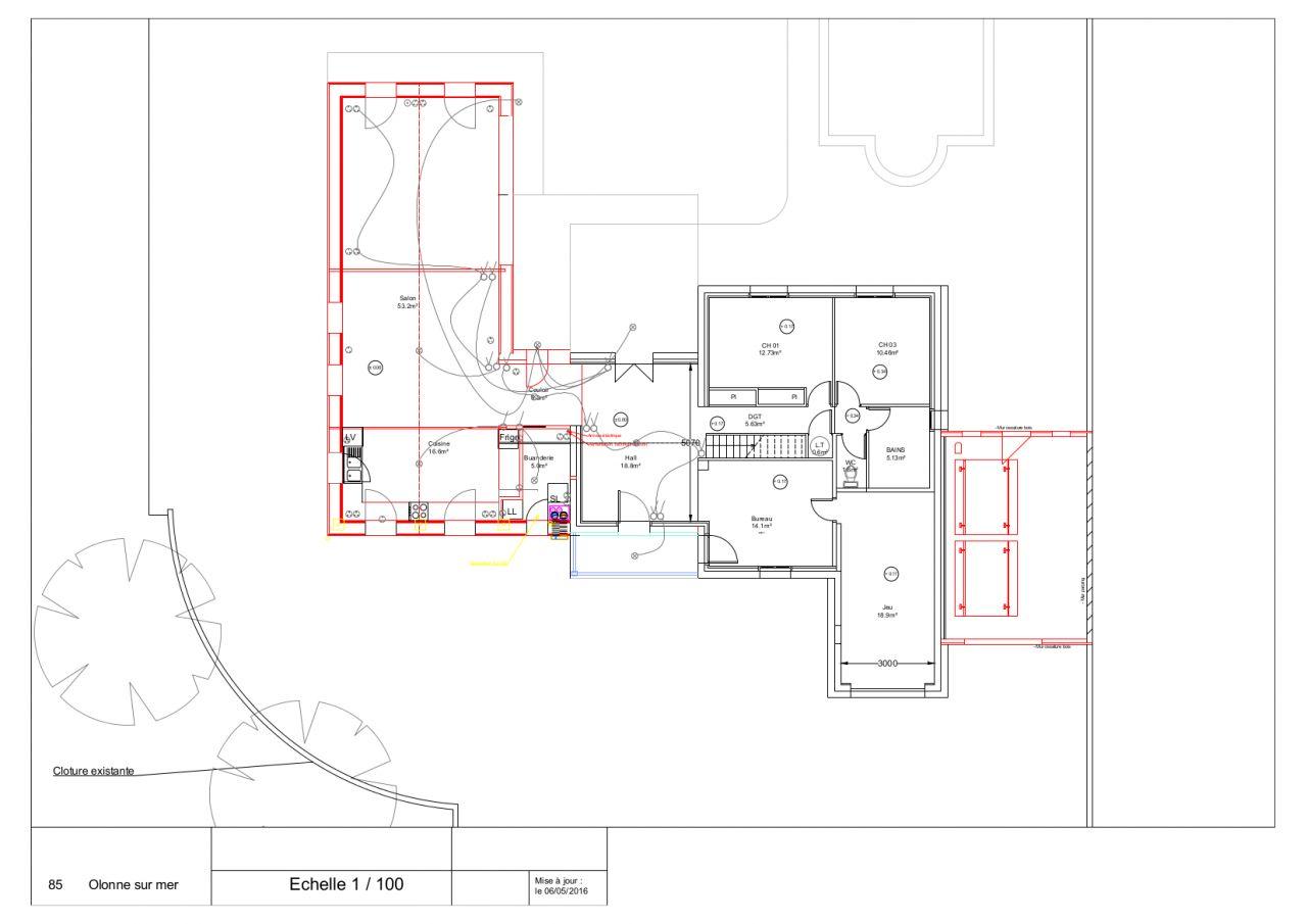 Plans définitifs avec nouvelles constructions en rouge