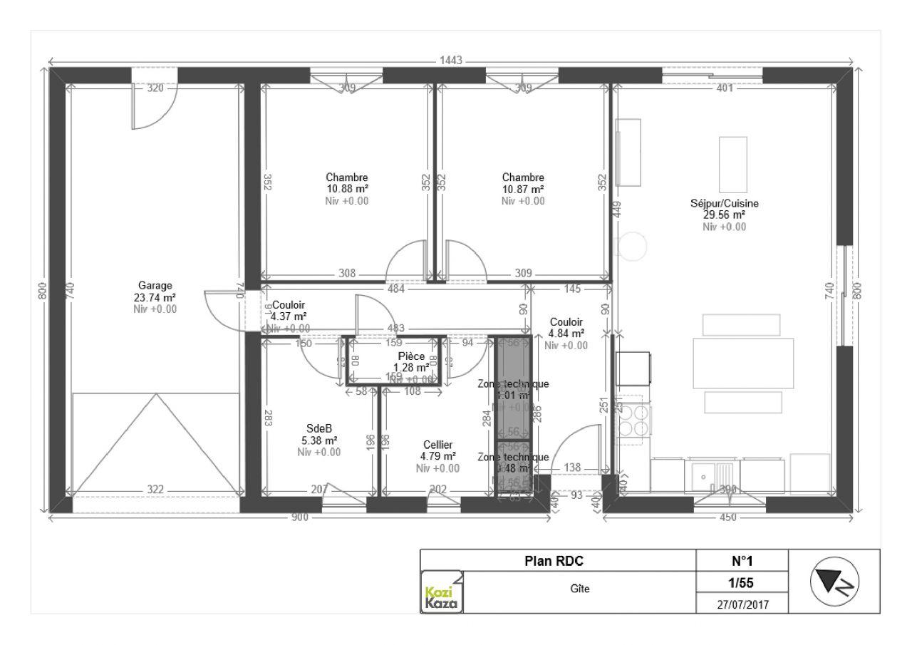 Plan de la maison, permis déposé demain