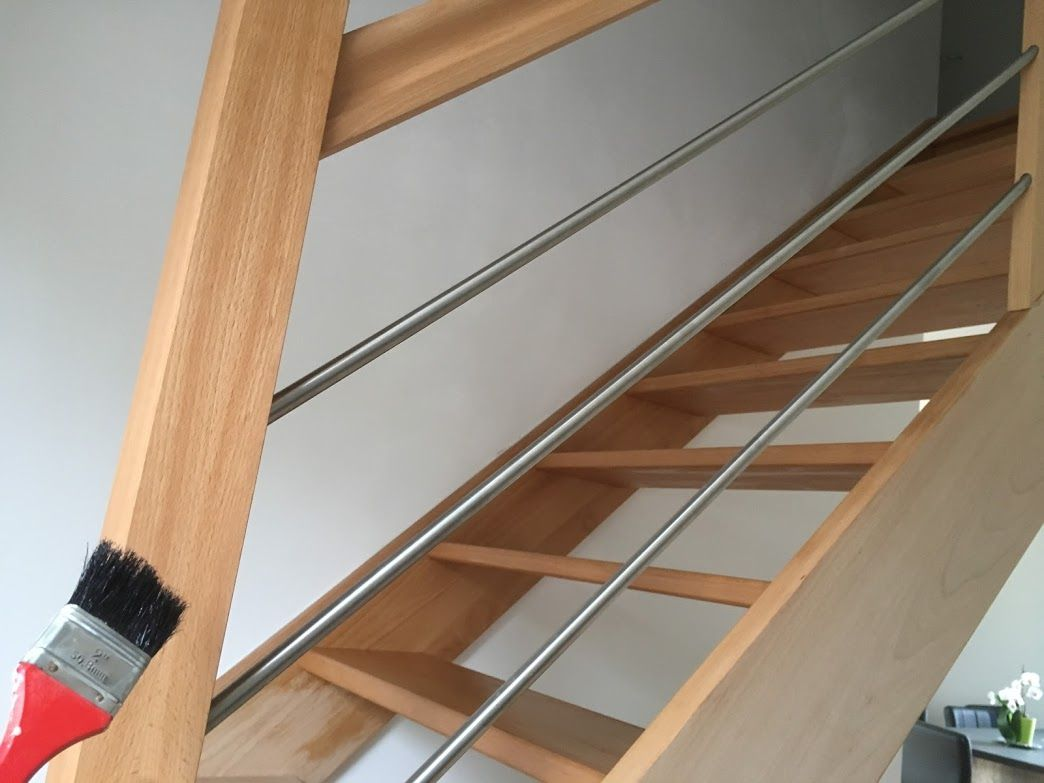 Protection de l'escalier avec une huile-cire OSMO : Après ponçage, 1ère couche terminée