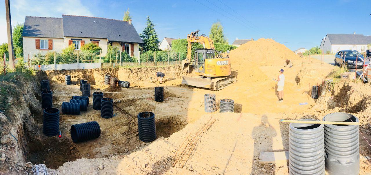 France Bois Modulaire en action pour le 2ème jour de terrassement.