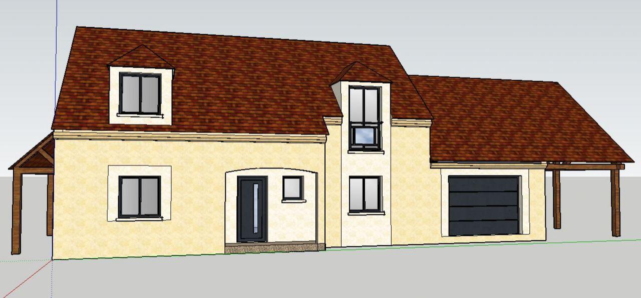 Maquette 3D de notre maison avec garage et charretterie attenants + appentis