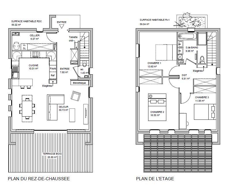 plan de niveaux (terrasse et pergola)