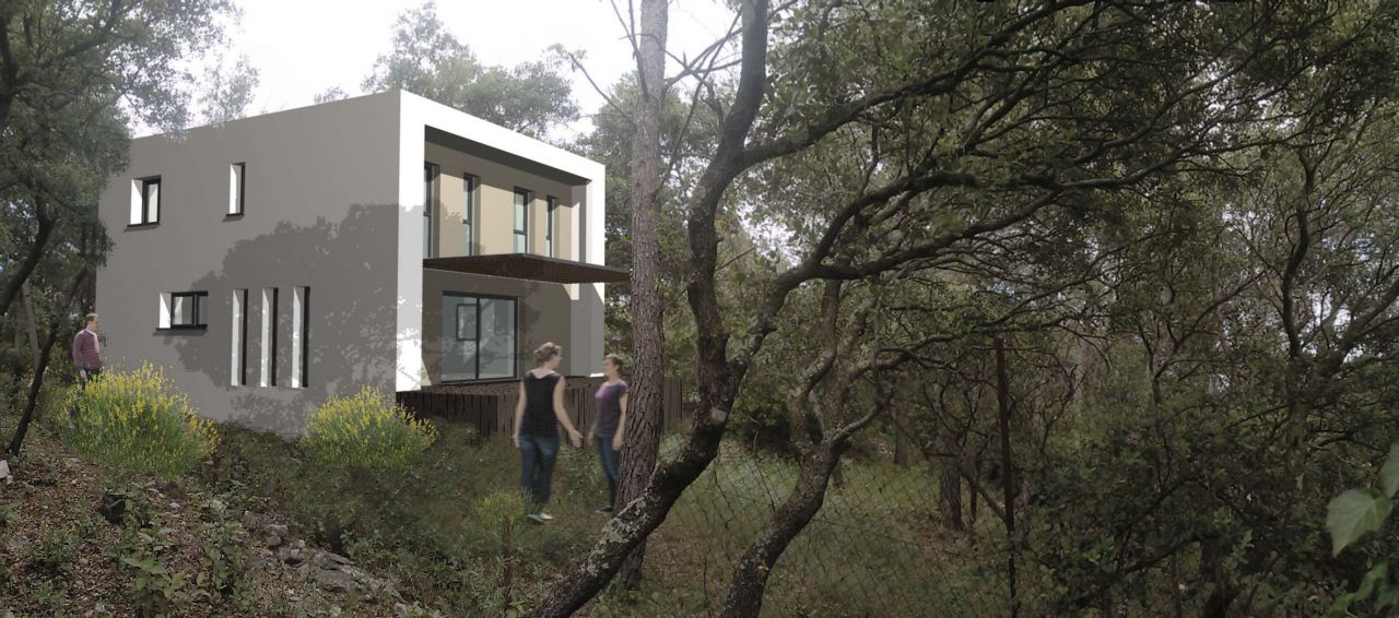 vue 3D implantation de la maison dans le terrain