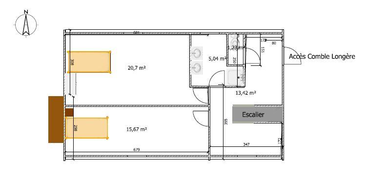 long re plan rdc bureau chambre dressing tage. Black Bedroom Furniture Sets. Home Design Ideas