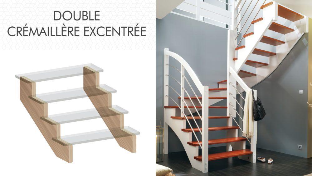 Structure double crémaillère excentrée d'escalier Flin