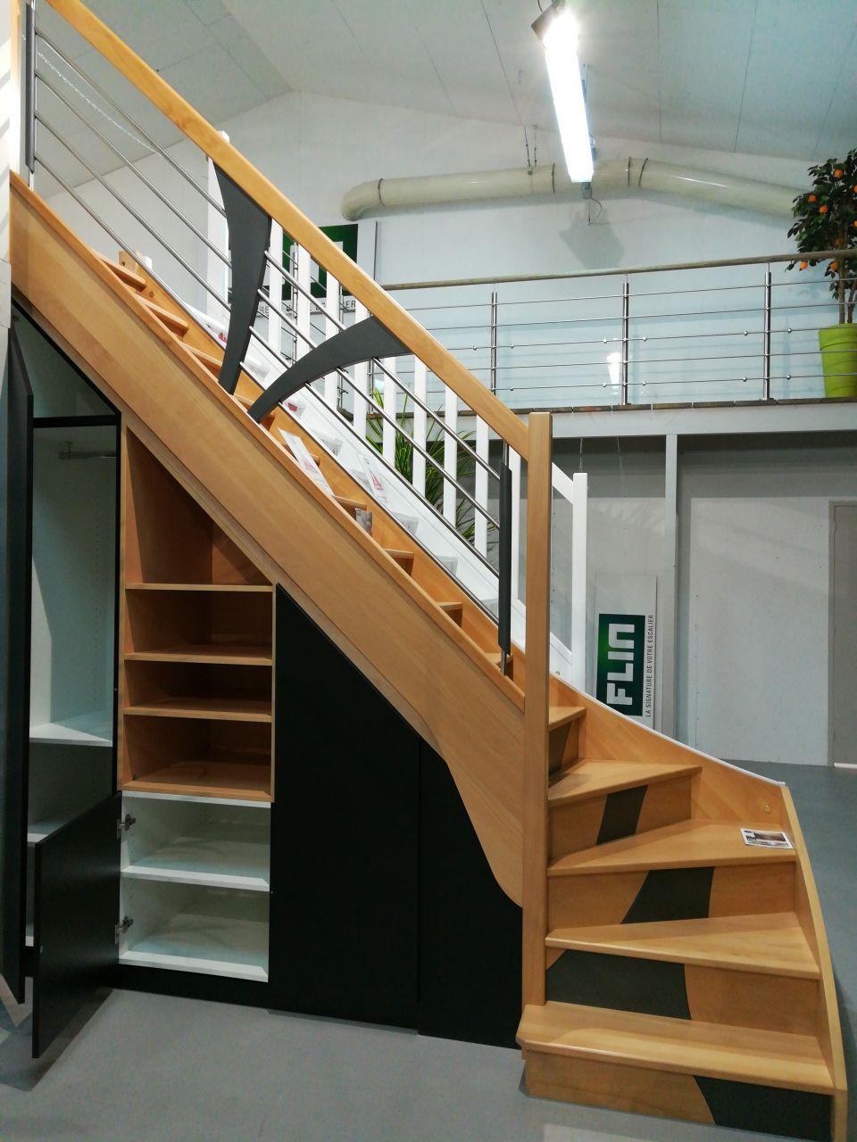 Escalier F76 quart tournant bas gauche Flin