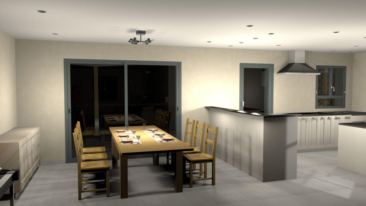 Salle à manger et cuisine vues depuis le salon