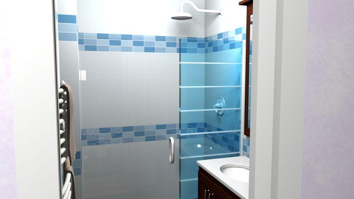 Notre salle d'eau : douche à l'italienne et double-vasque