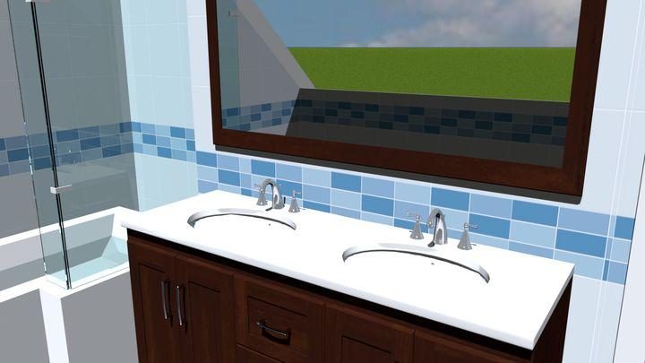 Salle de bains étage : baignoire en L et double-vasque