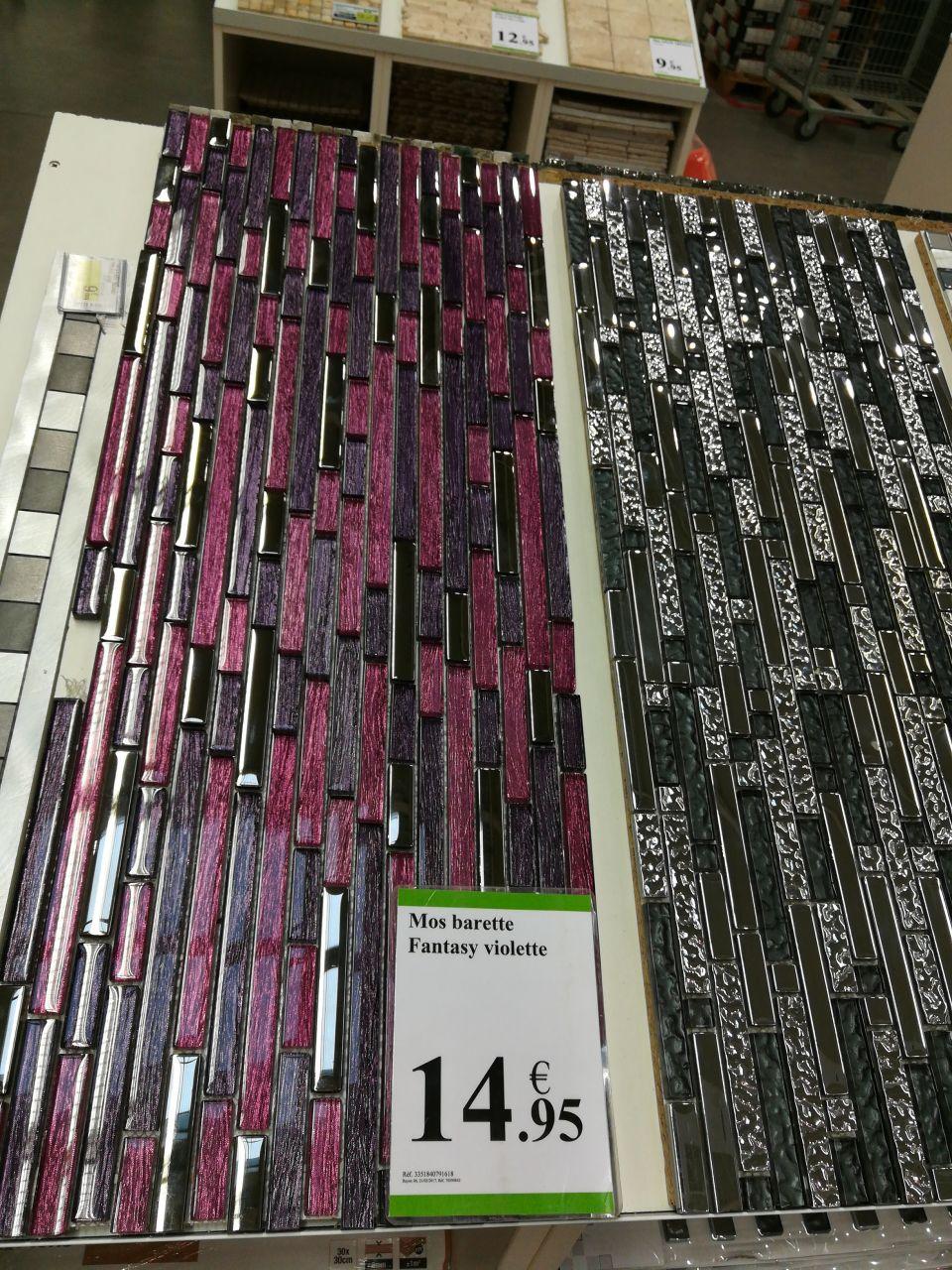 Mosaïque mur barette violet Leroy-Merlin