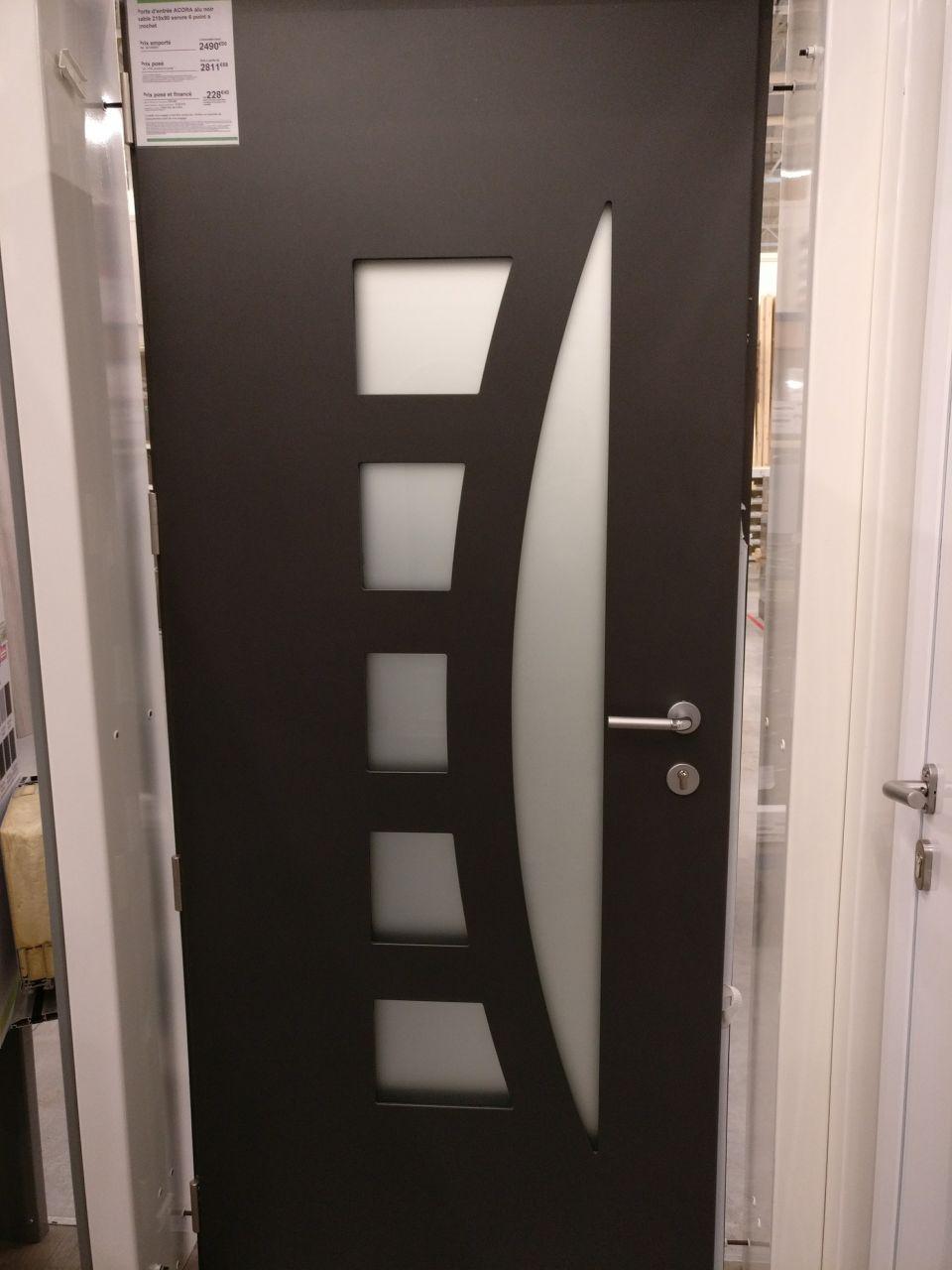 Porte d'entrée Acora Excellence en aluminium noir sable RAL 2100 Leroy-Merlin