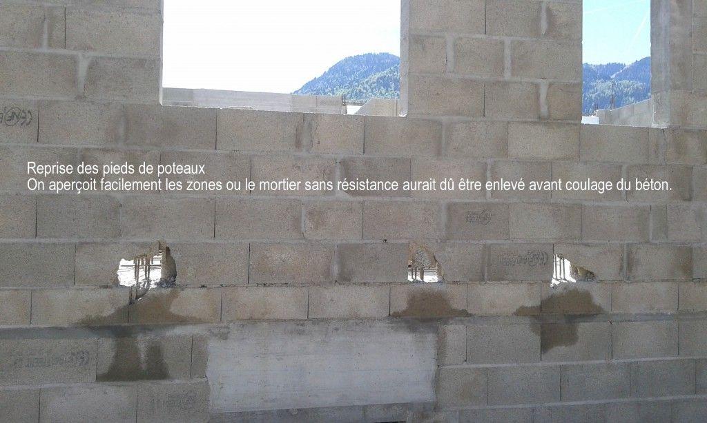 la purge des poteaux n'a pas été faite avant le coulage...