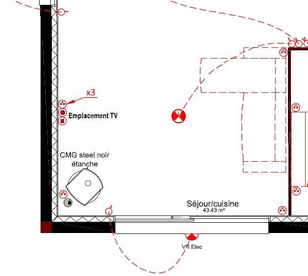 Voici le plan... on voit bien le poêle dans l'angle, eux pensaient le mettre à l'emplacement télé...