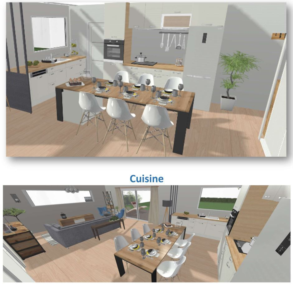 Aménagement possible de la partie cuisine et repas