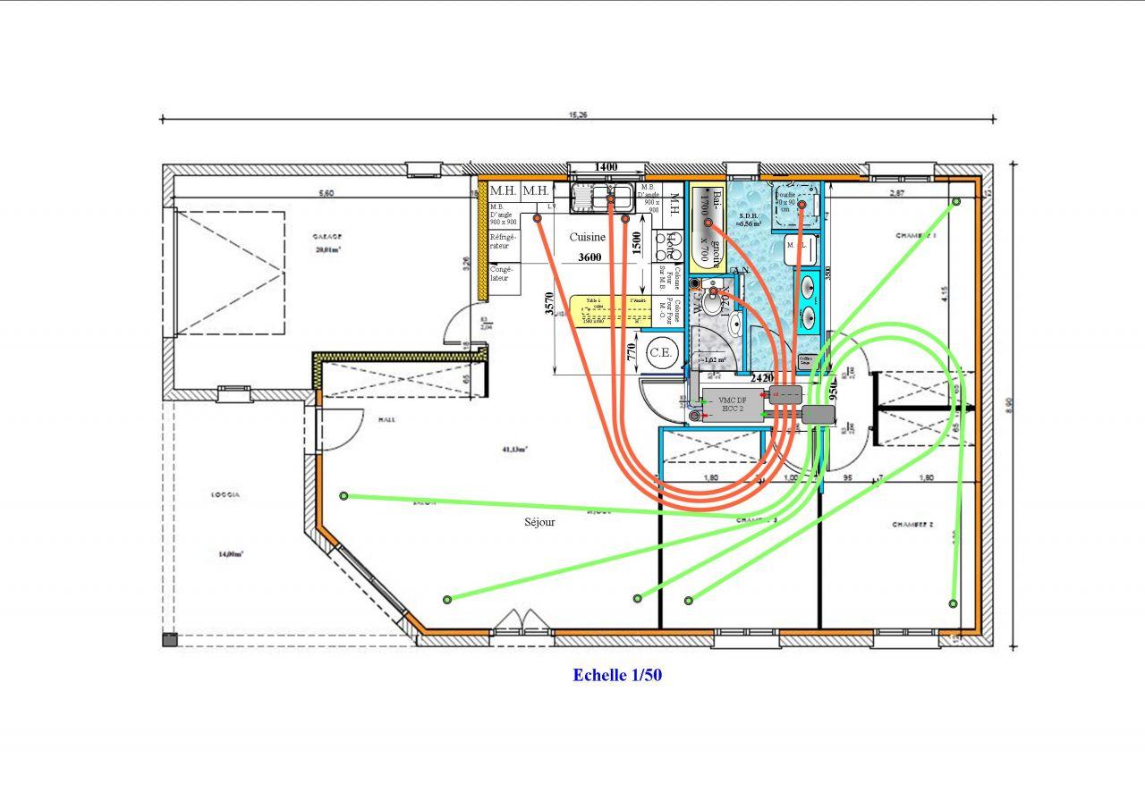 Implantation pr&eacute;vue de la VMC DF. <br /> L'acc&egrave;s aux filtres est ais&eacute;, au plafond du couloir. <br /> Le mod&egrave;le et &eacute;quipements ne sont pas compl&eacute;tement arr&ecirc;t&eacute;s.