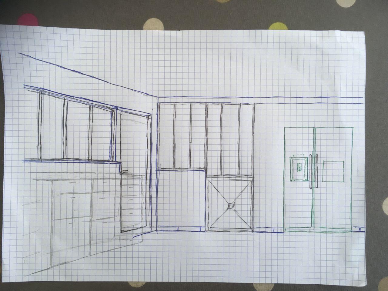 """projet séparation """"atelier"""" cuisine-séjour"""