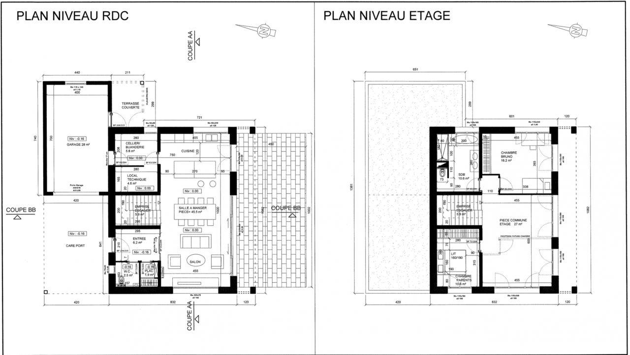 Plans niveau RDC et étage