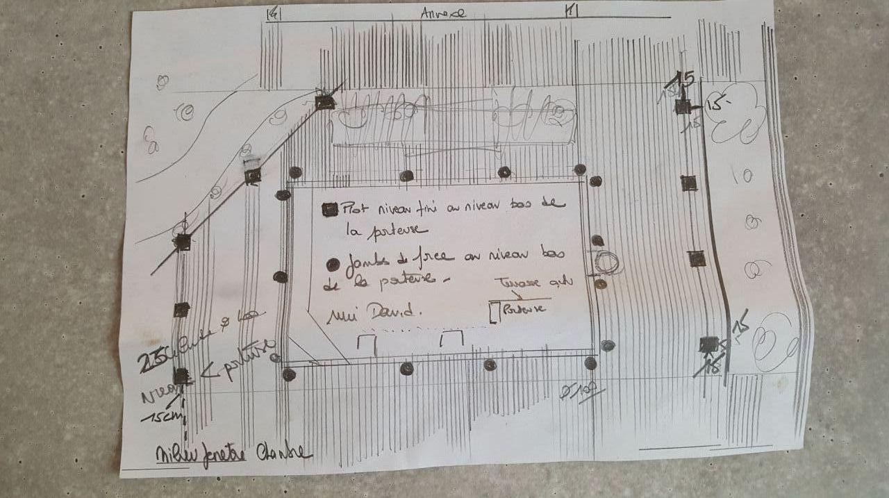 Jour 10 : Réalisation d'une plan pour visualiser la future terrasse.