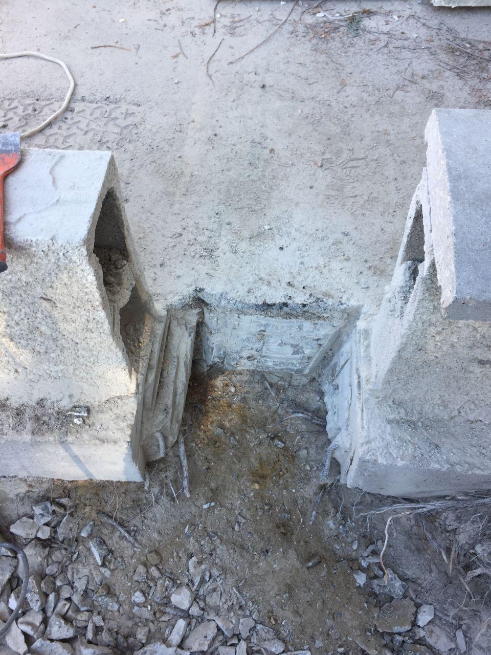Découpage du muret et des fondations pour l'arrivé Enedis