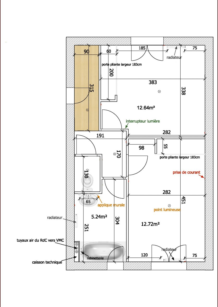 Plan de l'étage que j'ai refait pour la réunion technique