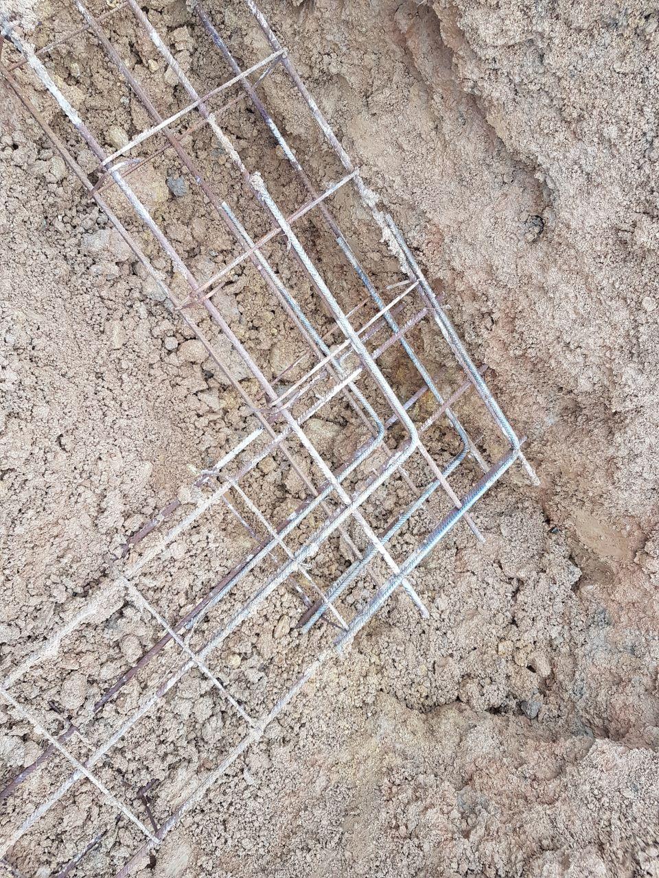 fondations creusées + ferraillage
